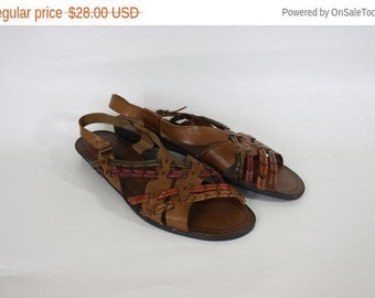Sale Vintage Leather Huraches / 1980s Leather Sandals / Leather Braided Sandals / Wedge Heel Slingback Sandals  10/11