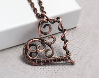 Copper Heart Necklace | Wire Wrapped Heart Pendant | 7th Wedding Anniversary Gift for Wife | Antiqued Copper Jewellery UK