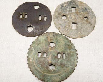 Antique Huge Button - Archaeological Excavations - set of 3 - b35