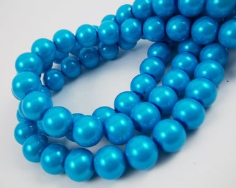 275 Glass pearl beads 8mm Deep Sky Blue loose bead strand spacer wholesale bulk czech glass bead round top quality [C46-5749-05]