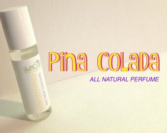 Pina Colada  Perfume - Natural Roll On Perfume Oil  -  Pineapple & Coconut Fragrance - Caribbean Perfume -  .3 oz Glass Roll On Bottle
