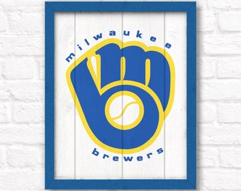 Vintage Milwaukee Brewers - rustic home decor wood sign - Sports room Wall hanging Boys room Man cave decor Fathers Day gift for Dad