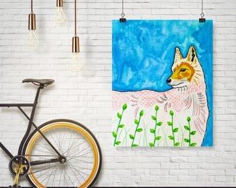Fox and leaves (Print), fox painting, fox illustration, nature art, fox decor, nursery decor, fox art, children illustration, animal decor