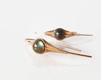 Wrapped Labradorite Earring, Stick earrings, Herringbone wrap, Handmade jewelry, Copper jewelry, Wire Wrapped Earrings,Gemstone earrings