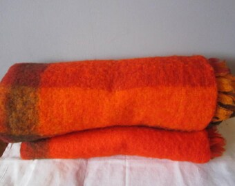 Vintage Nylon/Acrylic Throw Blanket 45 by 70 in. Made in Italy For Sears  Red Orange Camp Plaid Tartan Blanket throw Camping