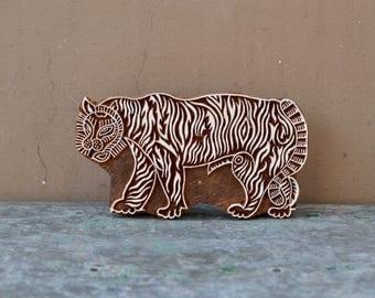 Tiger wood block stamp printing stencil wooden Indian traditional fabric textile print animal design big cat