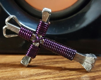 L@@k Dark Purple (Lot of 2) Disciples Cross Necklace # Christian Wire Metal Nails Brand New !!