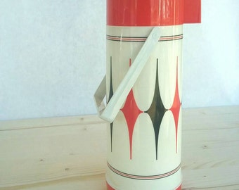Vintage Aladdin Vanguard Vacuum Bottle - Red White Black