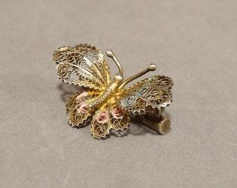 Antique Butterfly Pin Brooch Sterling Silver Filigree Pastel Enamel Victorian Edwardian Art Nouveau Cannetille Figural Jewelry