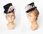 RESERVED Jaunty 1940s New York Creations Wool Tilt Top Hat with Baby Pink Ostrich Feather and Honeycomb Veil