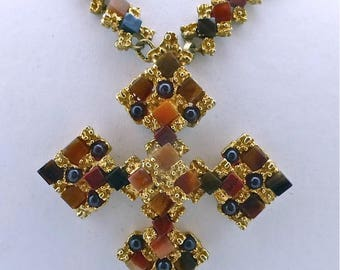 Swadoba Agate Cross Necklace