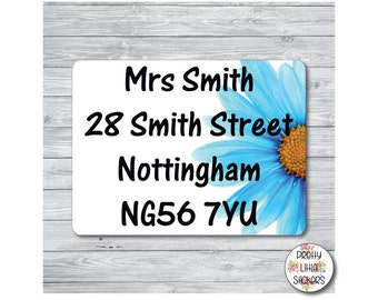 50 x Blue Flower Return Address Labels