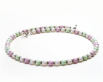 Pastel Pink and Green Necklace - 18 Inch Swarovski Crystal Pearl Necklace with Optional Earrings