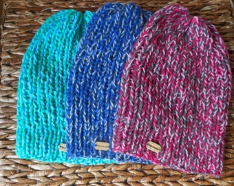 Hand Knit Slouchy Beanie Hat Acrylic  Winter Hat