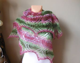Lace shawl, triangular shawl, mohair yarn, watermelon colors, pink and green , hand knitted