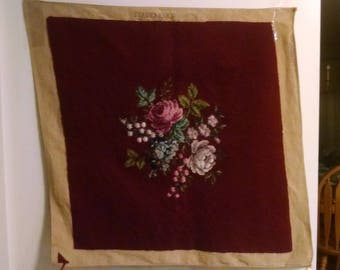 Wool Yarn, Hand Made Needlepoint, Roses and Flowers on Super Canvas