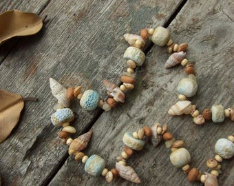 Sea Beach Necklace, Natural seashell and Ceramic beads, Boho necklace, Light blue beige, Nature gift, Eco-friendly Recycling, Shell necklace