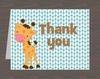 Giraffe Thank You Notes, Giraffe Cards, Giraffe Stationery, Giraffe Stationary, Giraffe Thank You Card, Zoo Animal Thank You, BlankThank You