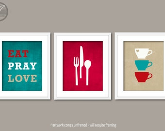 Kitchen Art Print Set   Eat Pray Love, Utensils Cups Silhouettes, Set Of (