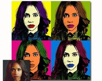 Custom portrait Set of 4 - Andy Warhol style Pop art print - your picture - DIGITAL