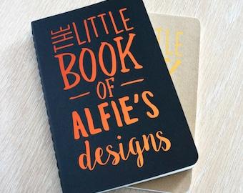 Personalised sketchbook Moleskine notebook A6 - The Little Book Of Designs, Black Copper personalized notebook pocket journal sketchbook