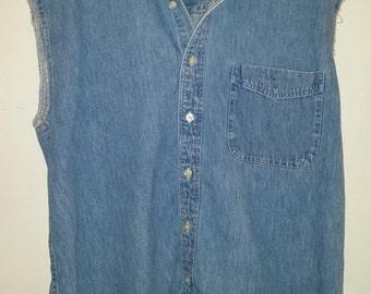 Vintage Men's Denim Shirt 1980's Urban Hipster Sleeveless Light Wash Jean Shirt Size M Made in USA Denim Shirt with Cut Off Sleeves