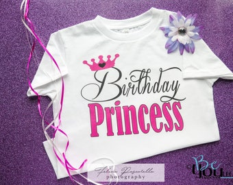 BIRTHDAY PRINCESS SHIRT;  birthday princess; princess birthday; birthday princess party; birthday shirt; custom clothing; princess