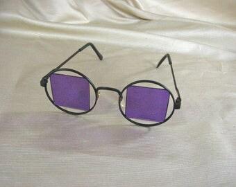 Vintage Hippie/ Retro Purple Sunglasses with Black Metal Frames