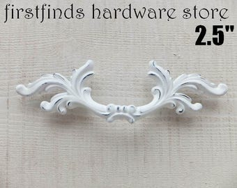 White Shabby Chic Drawer Pulls French Provincial Handles Fancy Furniture Hardware Door Cupboard Kitchen Cabinet 2.5inch ITEM DETAILS BELOW