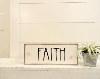 Mini faith black and white rustic wood sign