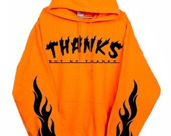 Orange Hoodie - Orange Sweatshirt - Flames Hoodie - Thrasher - Thrasher Hoodie - Skateboard Hoodie - Kylie Jenner - Kylie Hoodie Sweatshirt