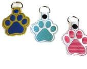 Paw Print Key Fob, paw print Key Chain, paw key chain, pet lover gift, embroidered key chain, embroidered key fob, graduation