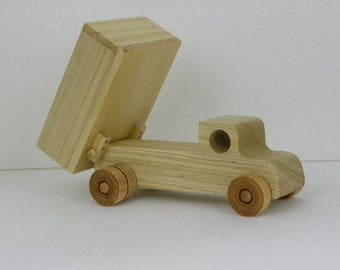 """SPECIAL Wooden Dump Truck made without nails, screws or staples. 8""""L x 3.5"""" W x 5.5""""H (dump up)"""