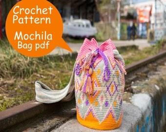 Mochila bag pattern, Tapestry crochet pattern, Wayuu bag pattern medium size Mochila bag, Digital PDF, Instant download