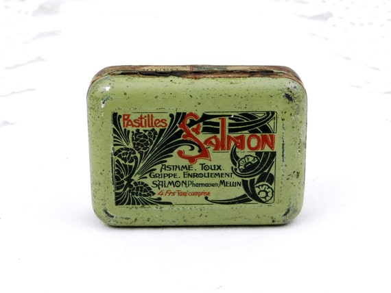 """Antique French Pale Green Lithographed Art Nouveau """"Pastilles Salmon"""" Medical Candy Metal Box, Apothecary Tin from France, Brocante Decor"""