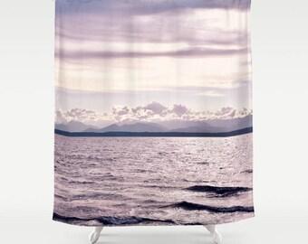Fabric Shower Curtain, Bathroom Decor - Ocean, Seaside, Mountains, Photography by RDelean Design