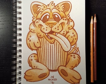 Coloured Pencil Sketch Drawing - Puppy Muffin