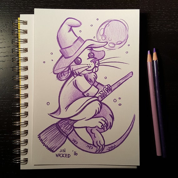 Coloured Pencil Sketch Drawing - Rat Witch