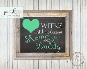 Pregnancy Countdown, New Baby Countdown Sign, Gender Neutral, 8x10, Instant Download, Printable