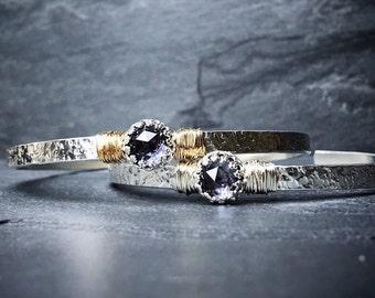 Alexandrite Cuff Bracelet / June Birthstone/ Gemstone Cuff Bracelet / Alexandrite Bangle Cuff  / Gift for Mom / Mothers Jewelry / New Mom