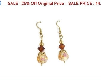 SALE - 25% Off Original Price Earrings, Brass  Swarovski Crystal and Lampwork Beads Dangle