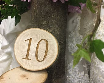 Rustic Round Table Number - Wedding Table Numbers - Rustic Wedding - Woodland Wedding - Table Accessories - Wedding Decoration