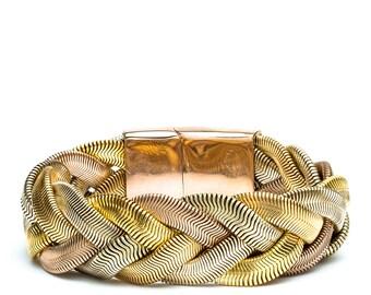 gold cuff bracelet braided