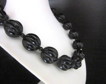 Chunky Lucite Bead Necklace Jet Black Carved Beads 17 - 19 Inches
