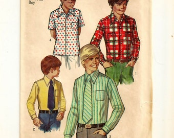 "A Long and Short Sleeve, Straight Hemline Shirt and Neck Tie Sewing Pattern: Boys Size 7, Chest 26"" • Simplicity 8901"