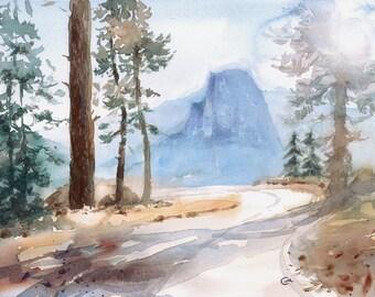Yosemite - Original Watercolor Painting Landscape 10 x 14 inches Half Dome