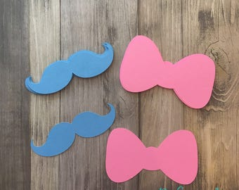 Gender Reveal Party mustache and bows, Gender Reveal Party Decor, Gender Reveal, Boy and Girl, Baby Shower, Baby Shower Decor