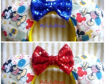 Minnie Mouse Ears Headband Mickey Retro Vintage Americana Fabric with Red Blue Sequin Bow Fits Adults and Children Choose Your Own Bow Color