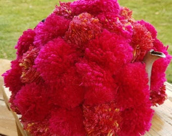 Handmade original knitted tea cosy -  Masses of pink pompoms - Stretches to fit 4-6 cup pot