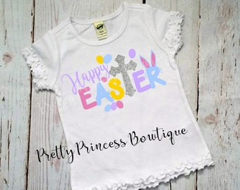 Easter Cross Shirt | Easter Shirt | Religious Easter Outfit | Girls Easter Shirt | Cross | Easter Bunny Shirt | Easter Cross | Religious